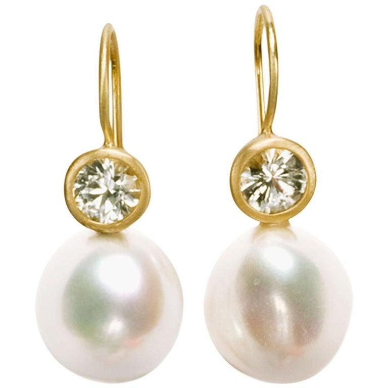 Faye Kim 18 Karat Gold Freshwater Pearl White Sapphire Earrings For Sale