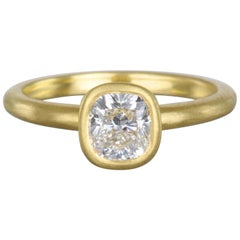 Faye Kim 18 Karat Gold GIA Certified 1.20 Carat Cushion Cut Diamond Ring