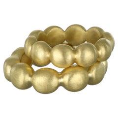 Faye Kim 18 Karat Gold Granulation Bubble Ring Stack