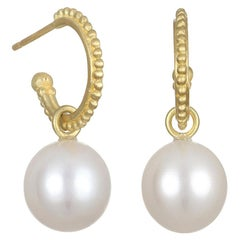 Faye Kim 18 Karat Gold Granulation Hoops with Freshwater Pearl Drops
