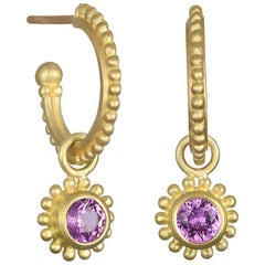 Faye Kim 18 Karat Gold Granulation Hoops with Pink Sapphire Drops