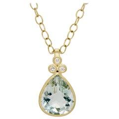Faye Kim 18 Karat Gold Green Beryl Diamond Pendant Necklace
