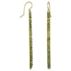 Faye Kim 18 Karat Gold Green Raw Diamond Bar Earrings