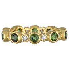 Faye Kim 18 Karat Gold Green Tourmaline and Diamond Eternity RIng