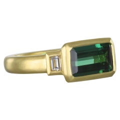 Faye Kim 18 Karat Gold Green Tourmaline and Diamond Ring