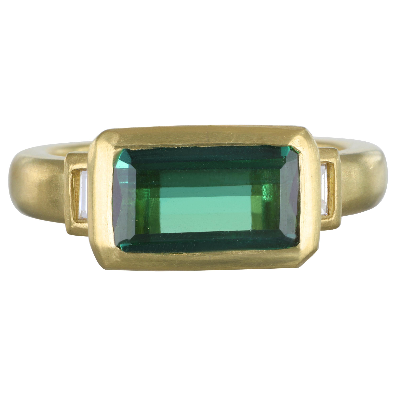 Faye Kim 18 Karat Gold Green Tourmaline Diamond Baguette Ring