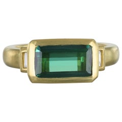 Faye Kim 18 Karat Gold Green Tourmaline Diamond Baguette Ring