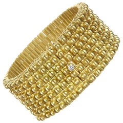 Faye Kim 18 Karat Gold Handmade Flexible Link Cuff Bracelet with Diamond Closure