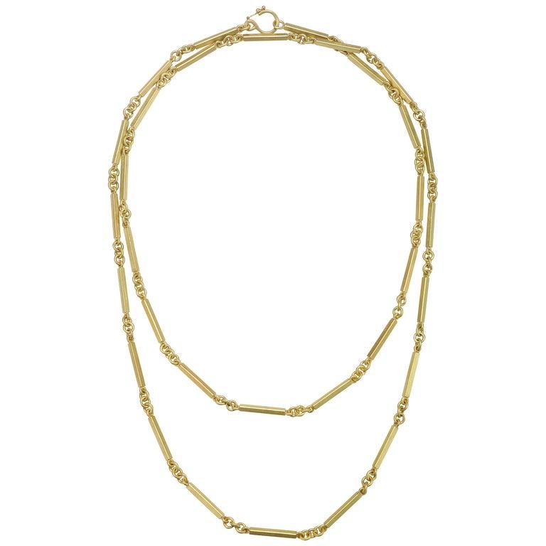 Faye Kim 18 Karat Gold Handmade Fob Chain For Sale