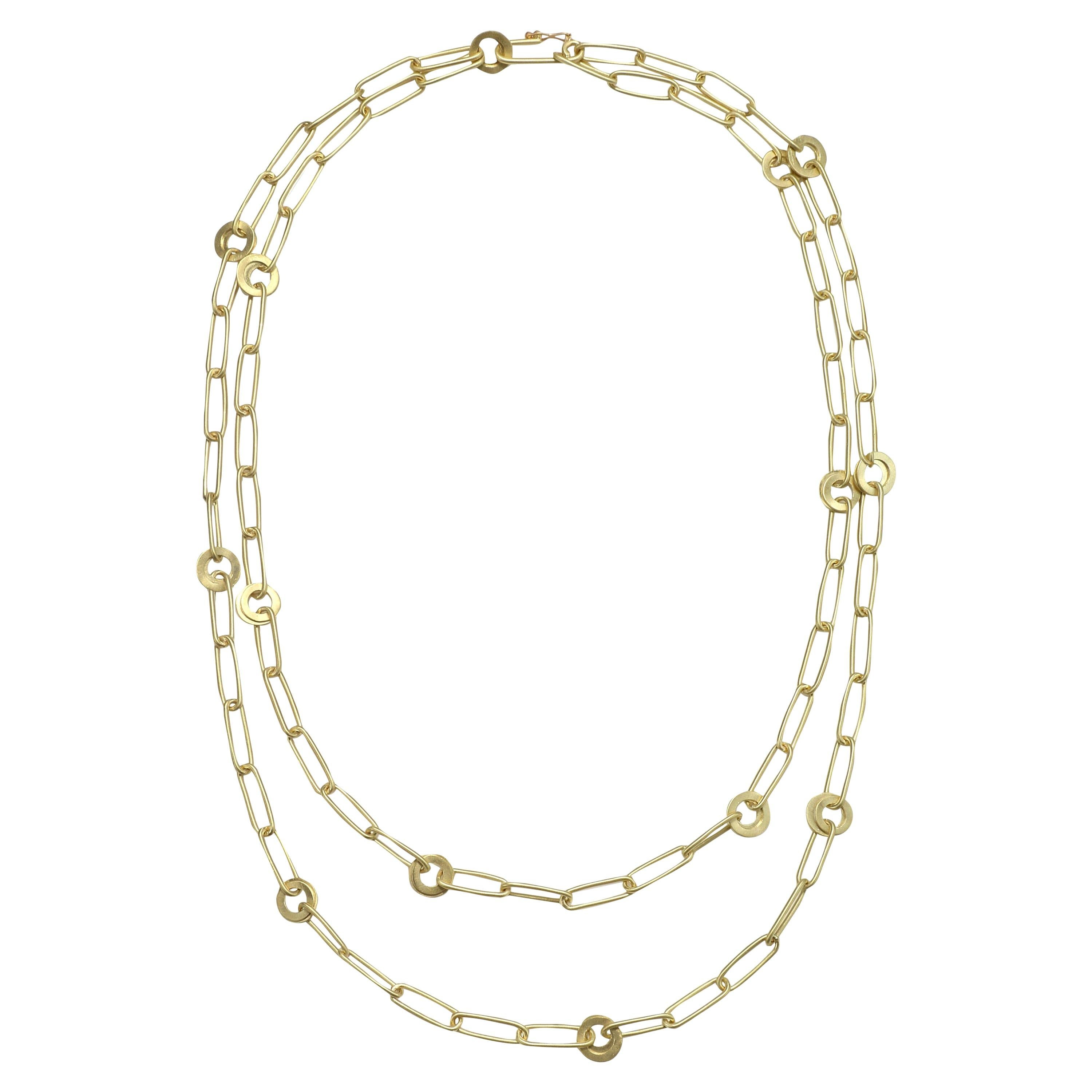 Faye Kim 18 Karat Gold Handmade Long Paper Clip Chain Link Necklace