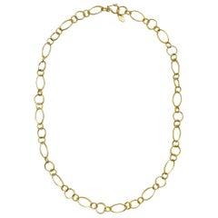 Faye Kim 18 Karat Gold Handmade Marquise Chain Link Necklace