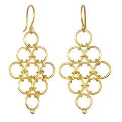 Faye Kim 18 Karat Gold Handmade Mesh Drop Earrings