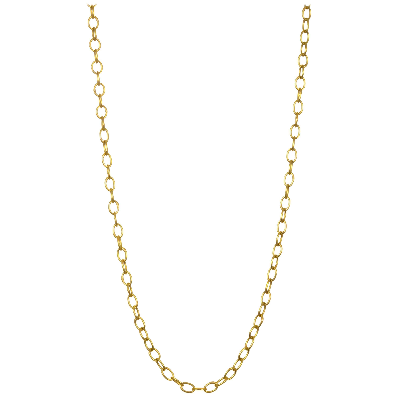 """Faye Kim 18 Karat Gold Handmade Oval Link Chain 18"""""""