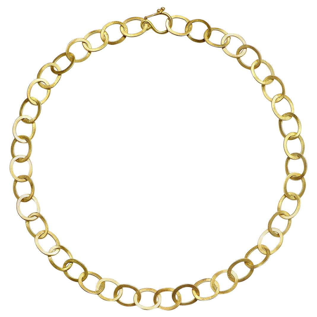 Faye Kim 18 Karat Gold Handmade Planished Oval Link Chain Necklace