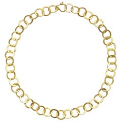 Faye Kim 18 Karat Gold Handmade Round Planished Chain Link Necklace