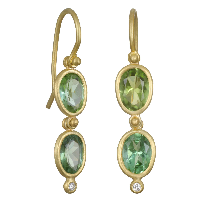 Faye Kim 18 Karat Gold Hinged Blue Green Beryl Earrings with Diamonds