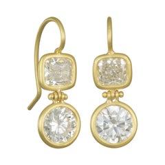 Faye Kim 18 Karat Gold GIA Certified Round, Cushion Diamond Drop Earrings