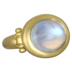 Faye Kim 18 Karat Gold Hinged Oval Rainbow Moonstone Ring