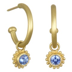 Faye Kim 18 Karat Gold Hoop Earrings with Blue Sapphire Drops