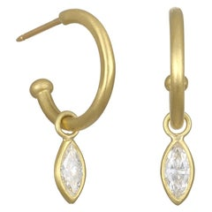 Faye Kim 18 Karat Gold Hoops with Marquise Diamond Drops