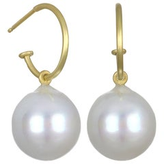 Faye Kim 18 Karat Gold Hoops with South Sea Pearl Drops