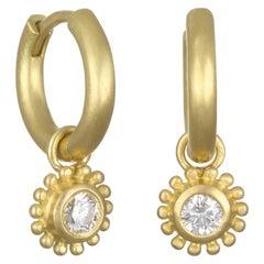 Faye Kim 18 Karat Gold Huggy Hoop Earrings with Diamond Drops