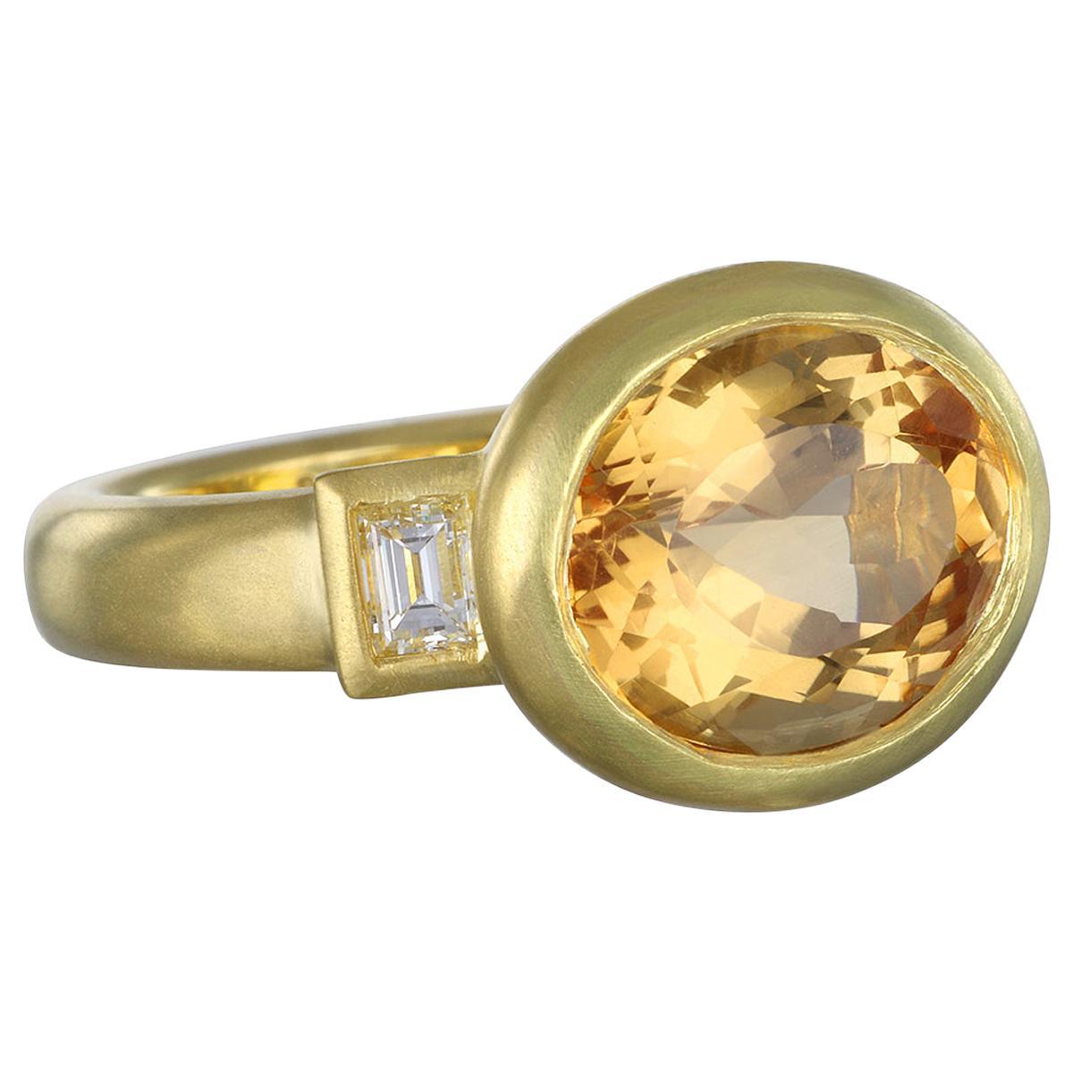 Faye Kim 18 Karat Gold Imperial Topaz Three-Stone Ring