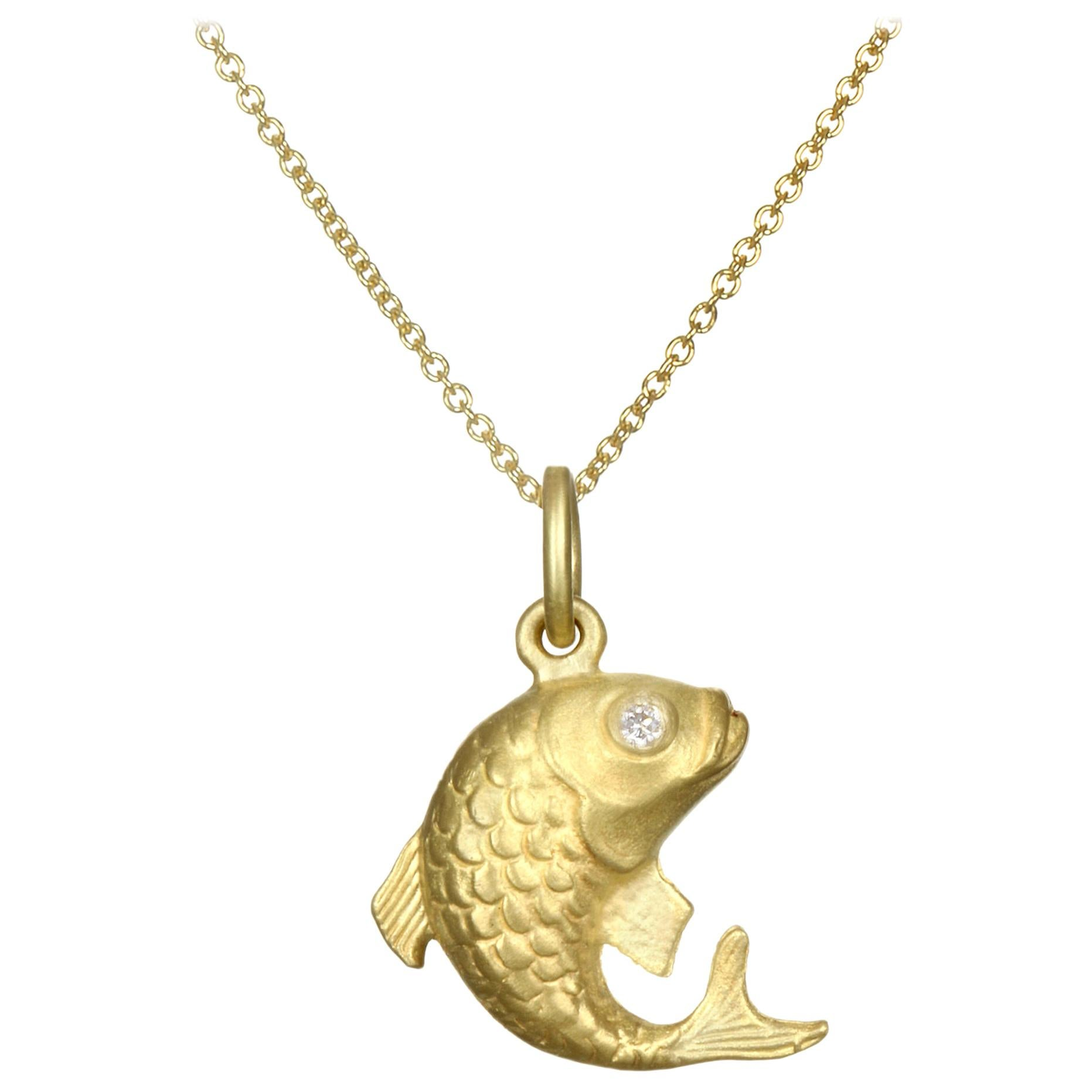 Faye Kim 18 Karat Gold Koi Fish Charm Necklace