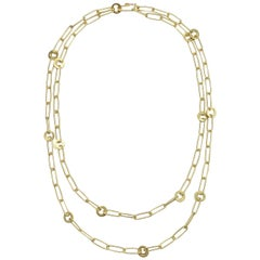 Faye Kim 18 Karat Gold Long Handmade Paperclip Chain Link Necklace