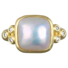 Faye Kim 18 Karat Gold Mabe Pearl and Diamond Ring