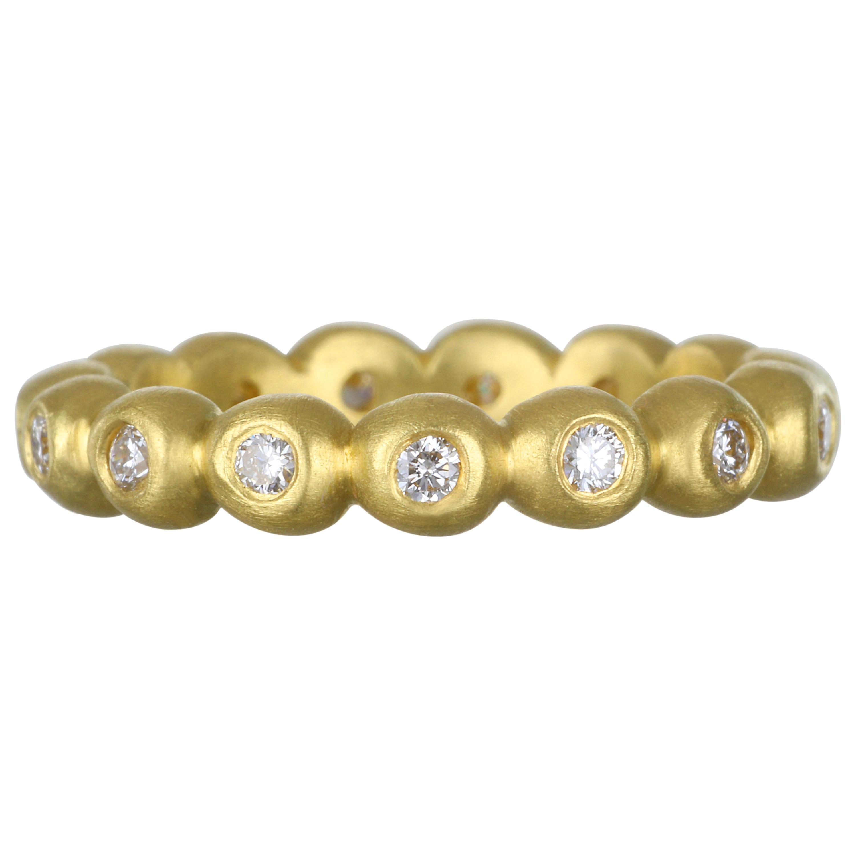 Faye Kim 18 Karat Gold Medium Diamond Granulation Bead Ring