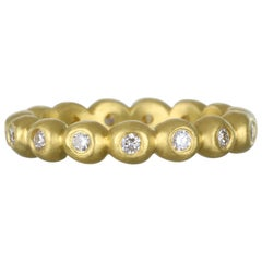 Faye Kim 18 Karat Gold Medium Diamond Granulation Bead Ring