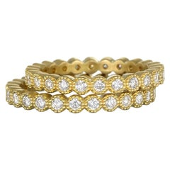 Faye Kim 18 Karat Gold Milgrain Diamond Eternity Band