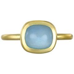 Faye Kim 18 Karat Gold Milky Aqua Bezel Ring