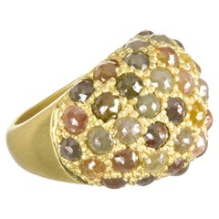 Faye Kim 18 Karat Gold Raw Diamond Dome Cocktail Ring
