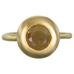 Faye Kim 18 Karat Gold Raw Diamond Domed Engagement Ring
