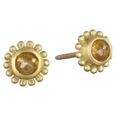 Faye Kim 18 Karat Gold Milky Diamond Stud Earrings