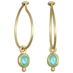 Faye Kim 18 Karat Gold Mini Hoops with Paraiba Tourmaline Drops