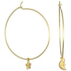 Faye Kim 18 Karat Gold Moon and Star Charm Hoop Earrings