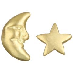 Faye Kim 18 Karat Gold Moon and Star Stud Earrings