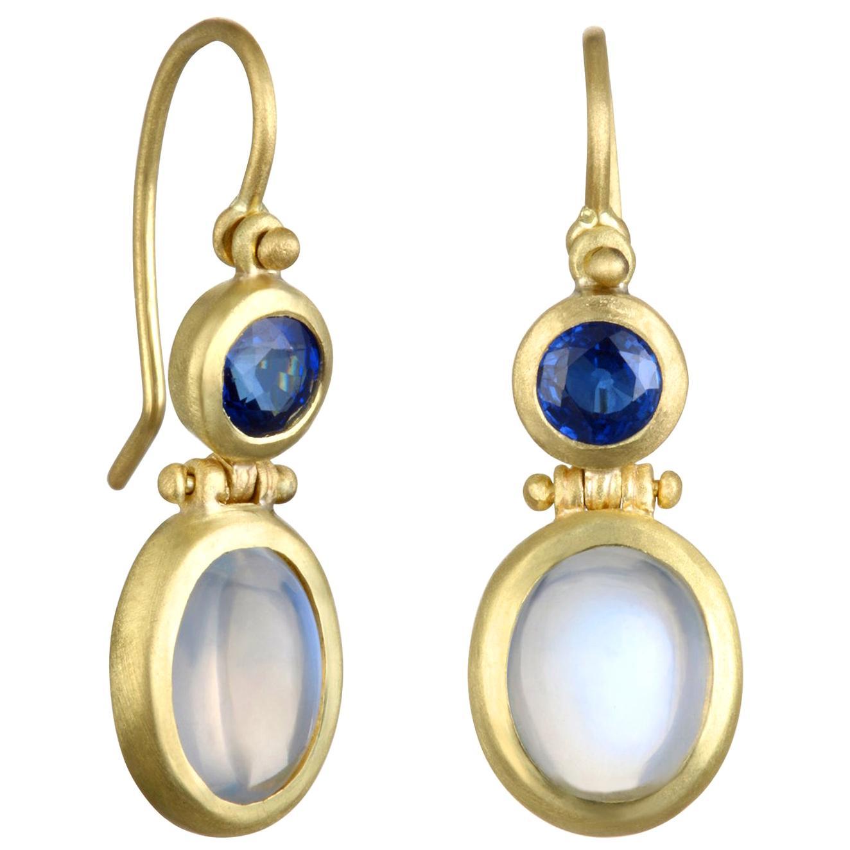 Faye Kim 18 Karat Gold Moonstone and Ceylon Blue Sapphire Drop Earrings