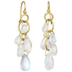 Faye Kim 18 Karat Gold Moonstone Briolette Drop Earrings