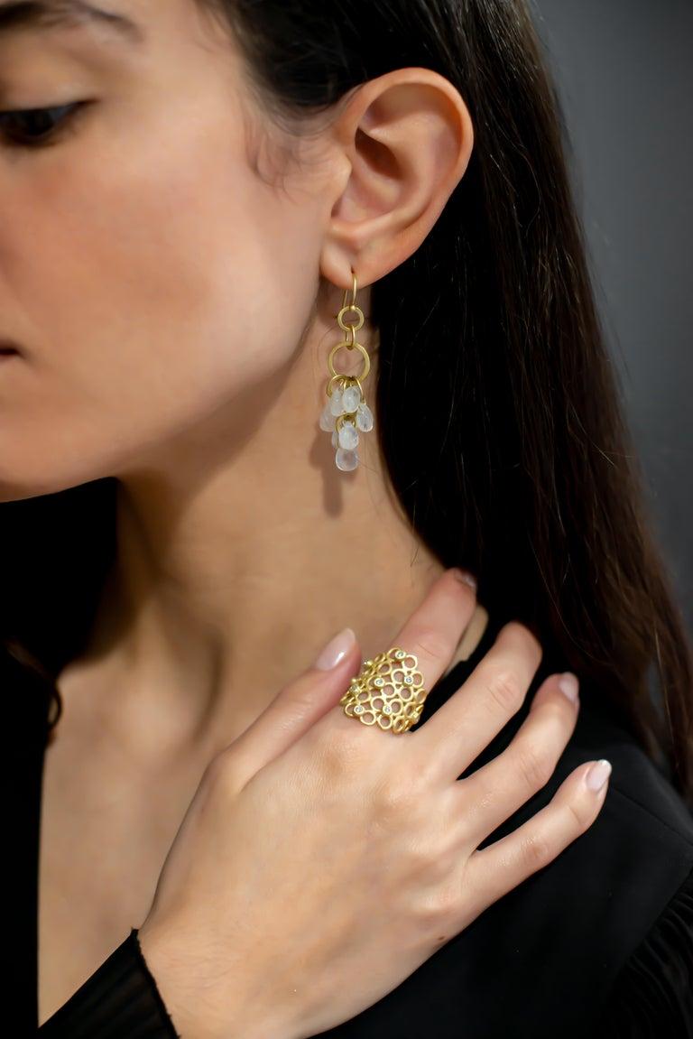 Contemporary Faye Kim 18 Karat Gold Moonstone Briolette Fringe Earrings For Sale