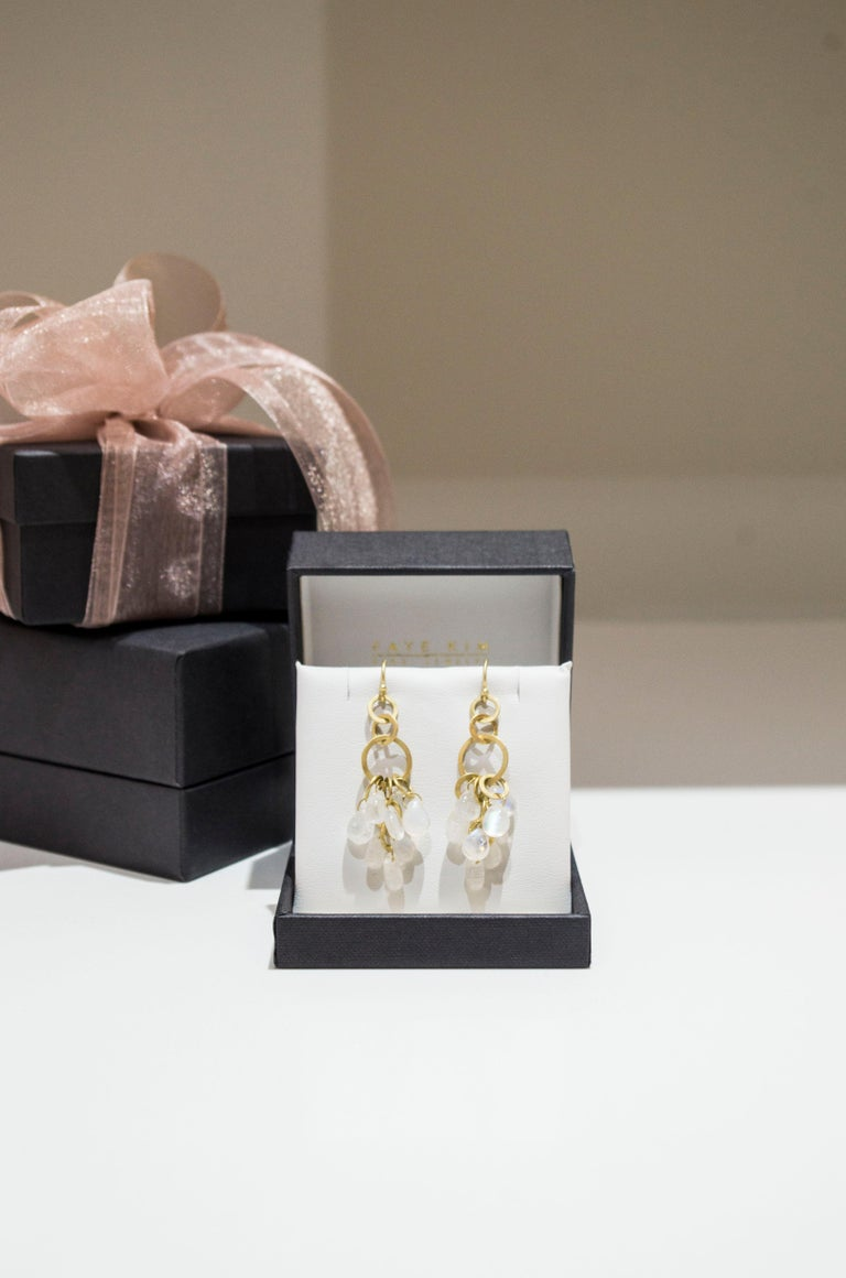 Briolette Cut Faye Kim 18 Karat Gold Moonstone Briolette Fringe Earrings For Sale