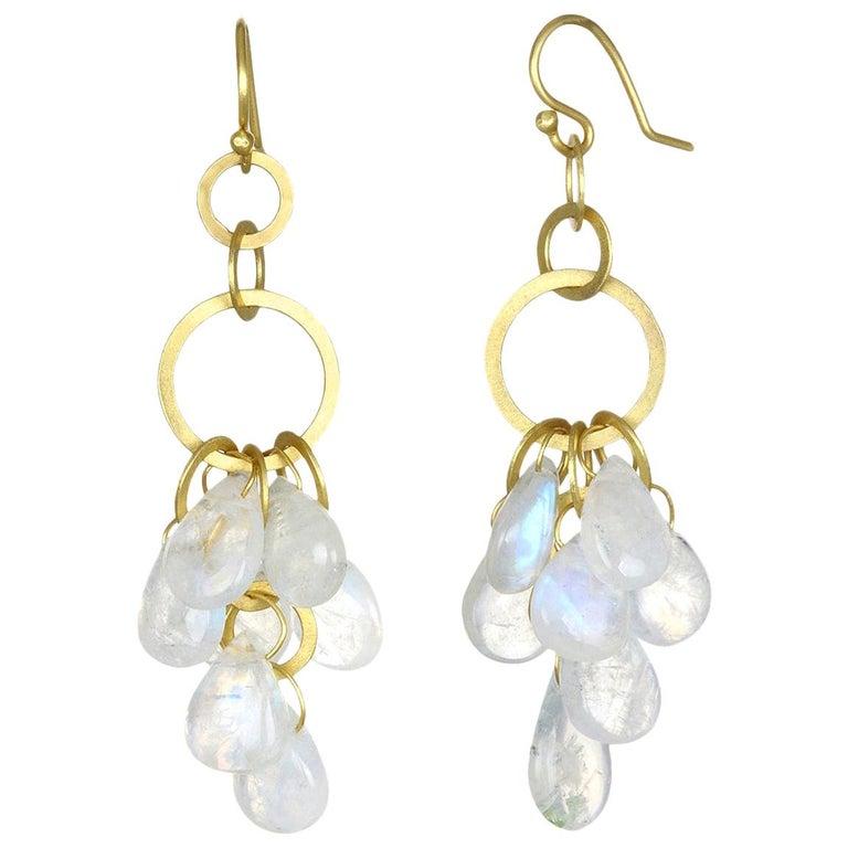 Faye Kim 18 Karat Gold Moonstone Briolette Fringe Earrings For Sale
