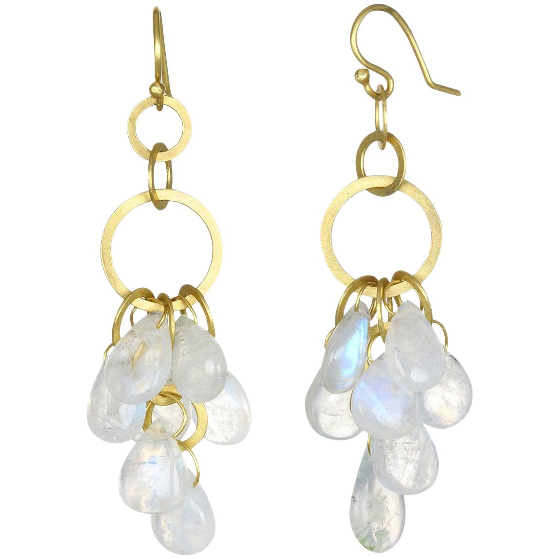 Faye Kim 18 Karat Gold Moonstone Briolette Fringe Earrings