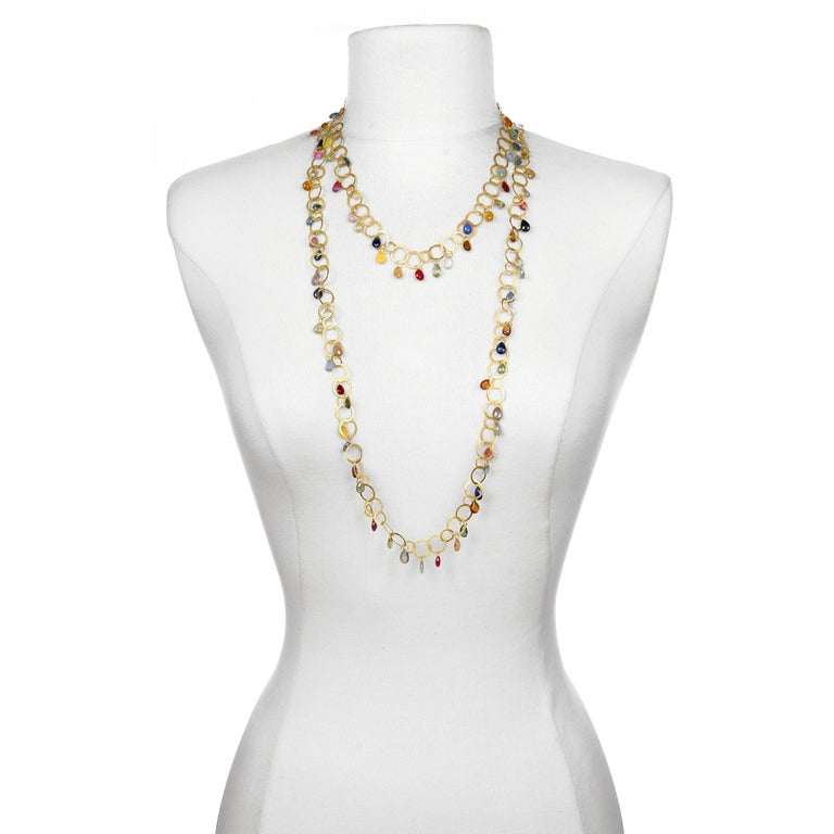 Contemporary Faye Kim 18 Karat Gold Multi-Color Sapphire Briolette Fringe Necklace For Sale
