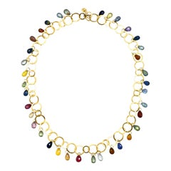 Faye Kim 18 Karat Gold Multi-Color Sapphire Briolette Fringe Necklace