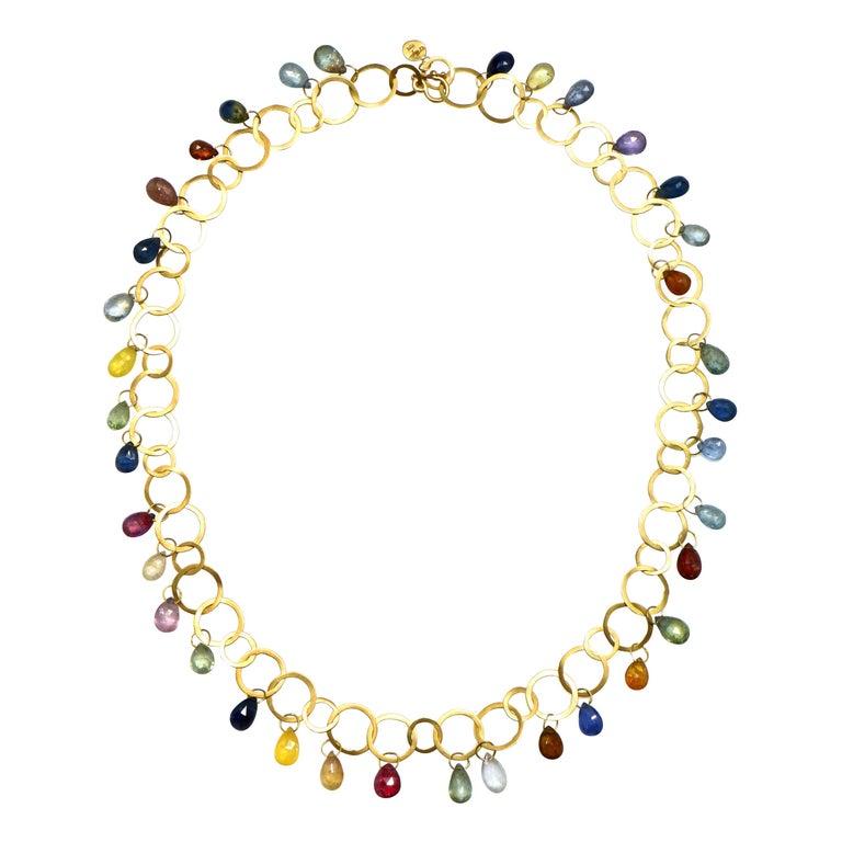 Faye Kim 18 Karat Gold Multi-Color Sapphire Briolette Fringe Necklace For Sale