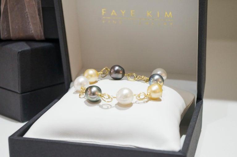 Women's Faye Kim 18 Karat Gold Multi-Color South Sea Pearl Gold Link Bracelet For Sale